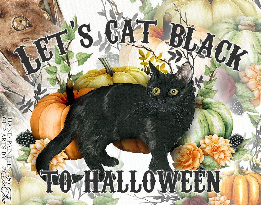 Watercolor Halloween Black Cat Fall Autumn Pumpkin Clipart