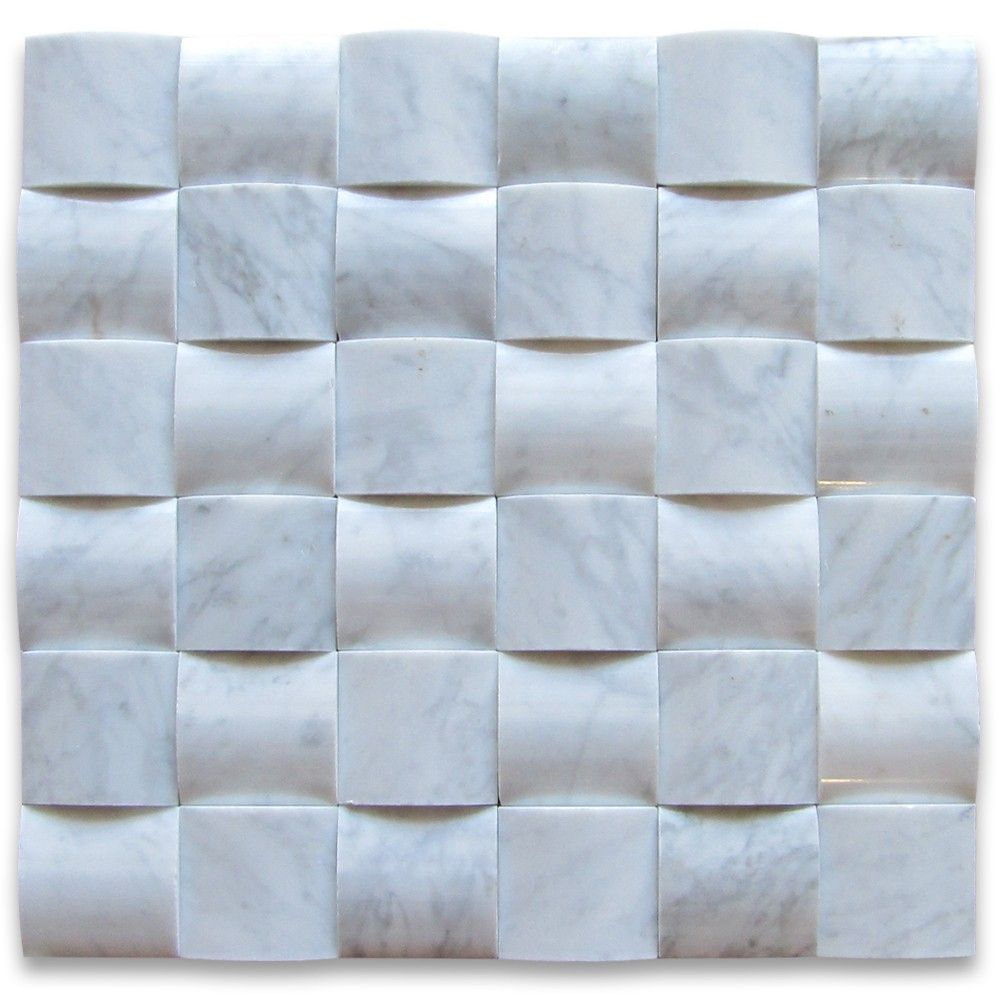 Carrara White 3D Cambered 2x2 Curved Arched Mosaic Tile Polished ...
