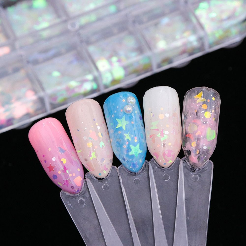 Full Beauty 1 Set Mixed AB Color Sequins Nail Art Flake