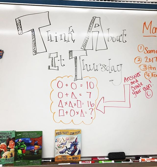 We got our think on this morning!! #miss5thswhiteboard #morningmeeting #brainteaser #todayin5thgrade