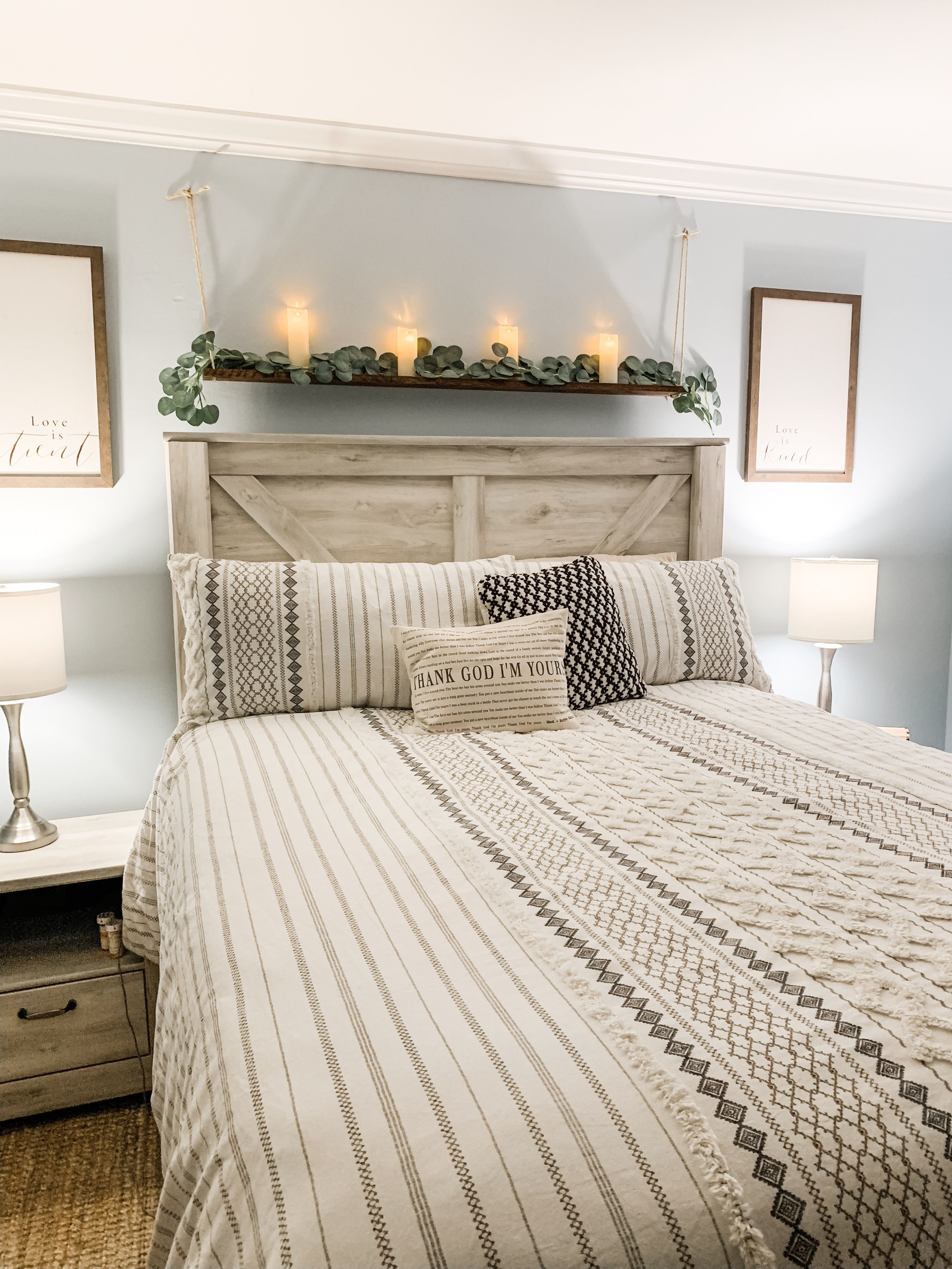 Obsessed with my new farmhouse decor over my headboard