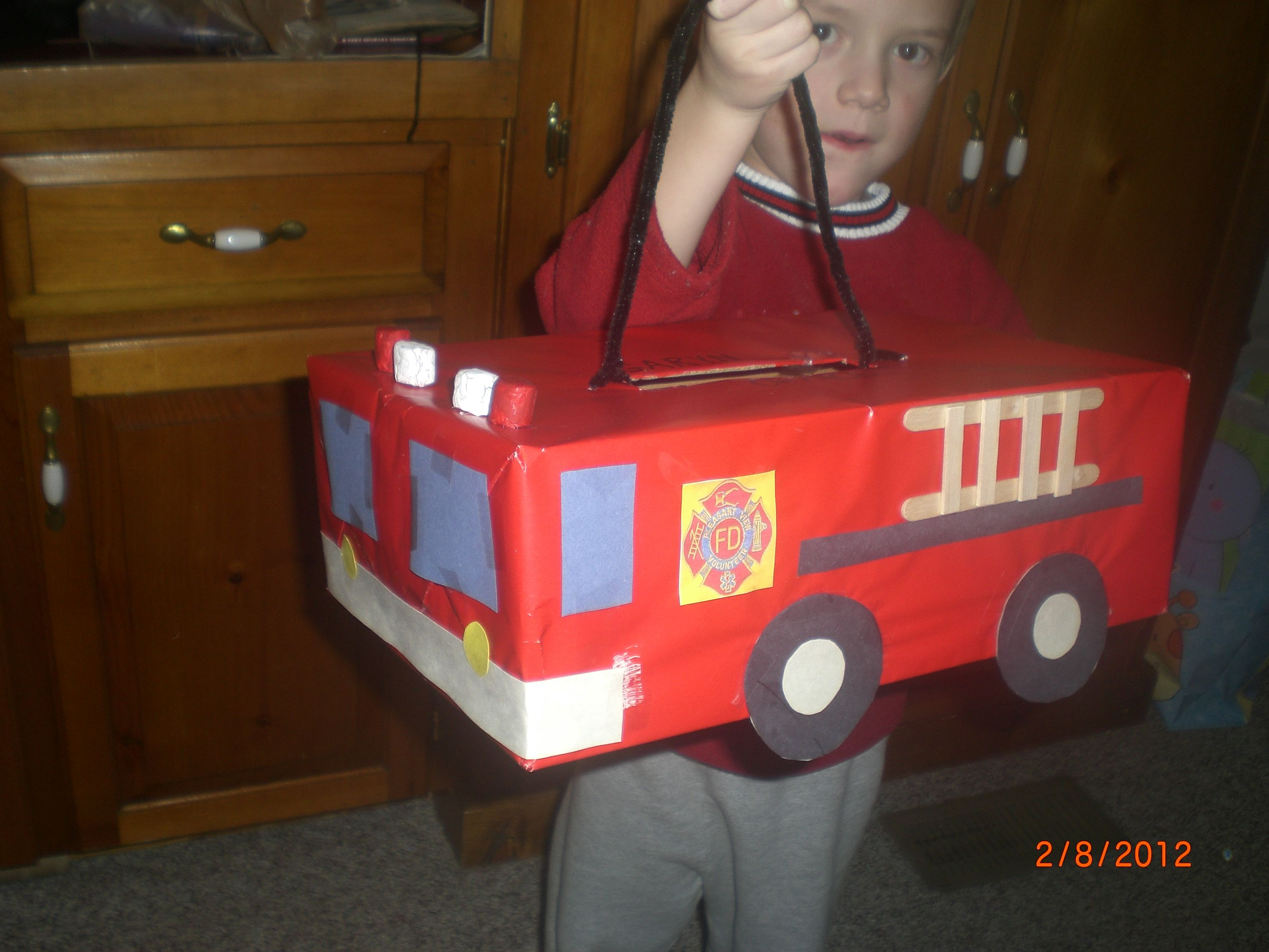 Toys toy boxes and fire trucks on pinterest - Fire Truck Valentine S Day Box