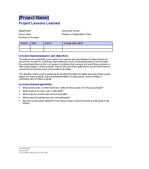 Project lessons learned templates free ms for Lessons learnt project management template
