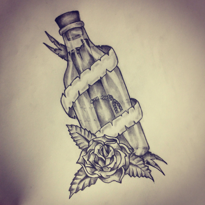 Message In A Bottle Tattoo Sketch By Ranz Fles Brief Tatuajes