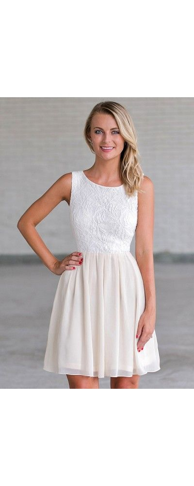 Lily Boutique Custard Pie Lace and Chiffon Dress in Ivory/Cream, $32 ...