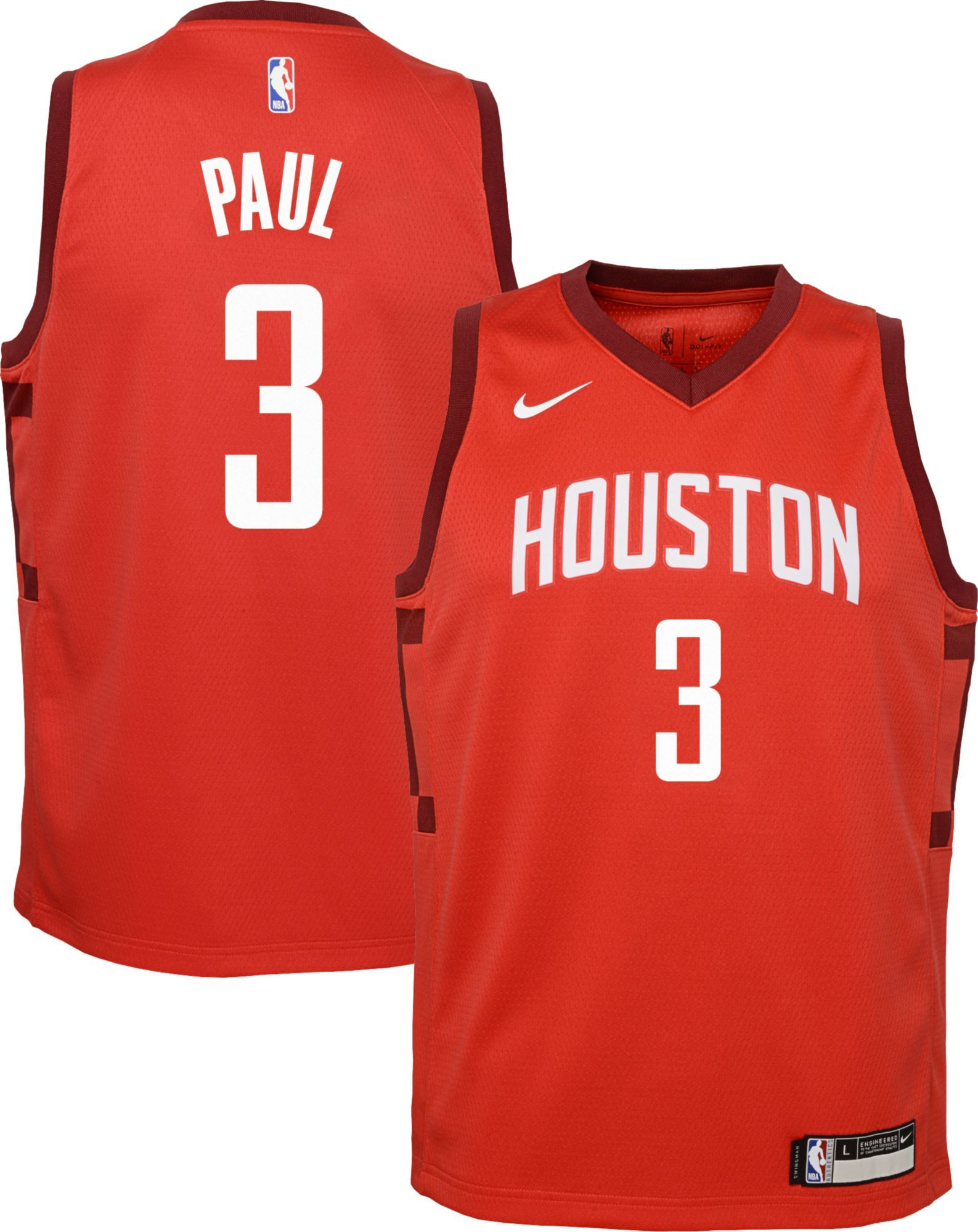 new style 363c3 83c9f Nike Youth Houston Rockets Chris Paul Dri-FIT Earned Edition ...