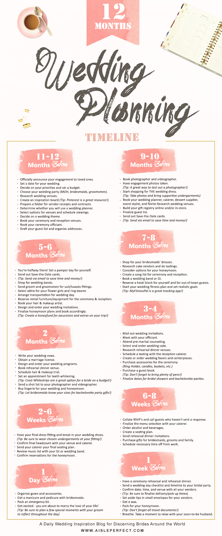 12 Month Wedding Planning Timeline