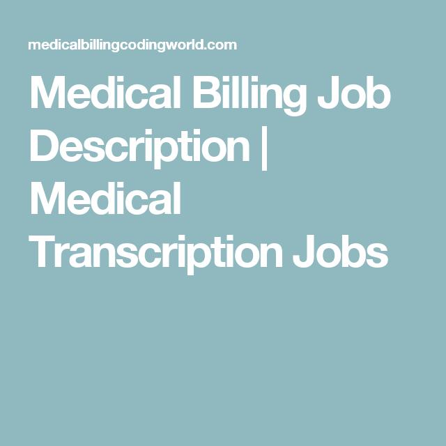 job description medical biller