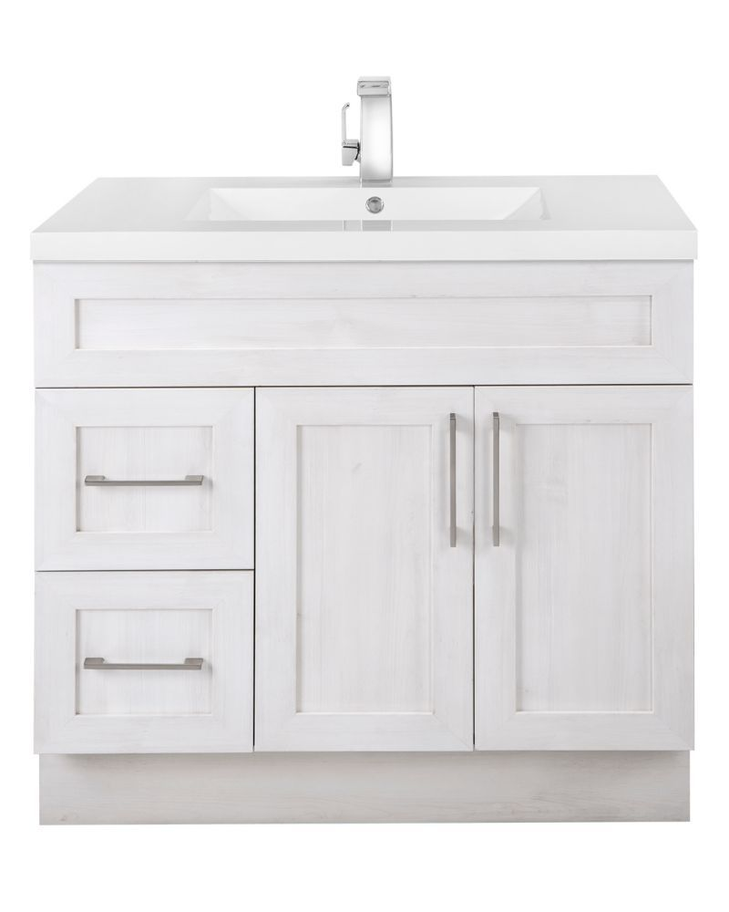 Fogo Harbour 36 Inch W 2 Drawer 2 Door Freestanding Vanity In Off White With Acrylic Top In White In 2020 Bathroom Vanity Bathroom Cabinets Diy Bathroom Furniture