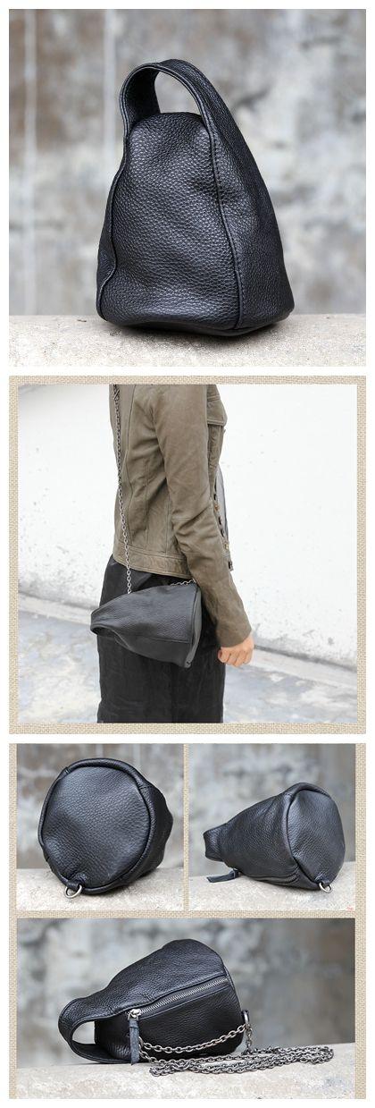 Women's Fashion Full Grain Leather Handbag Cosmetic Bag Messenger Bag Shoulder Bag AK12 Overview: Design: Women Fashion Handbag In Stock: 3-5 days For Making Include: Only Handbag Color: Purple, Black