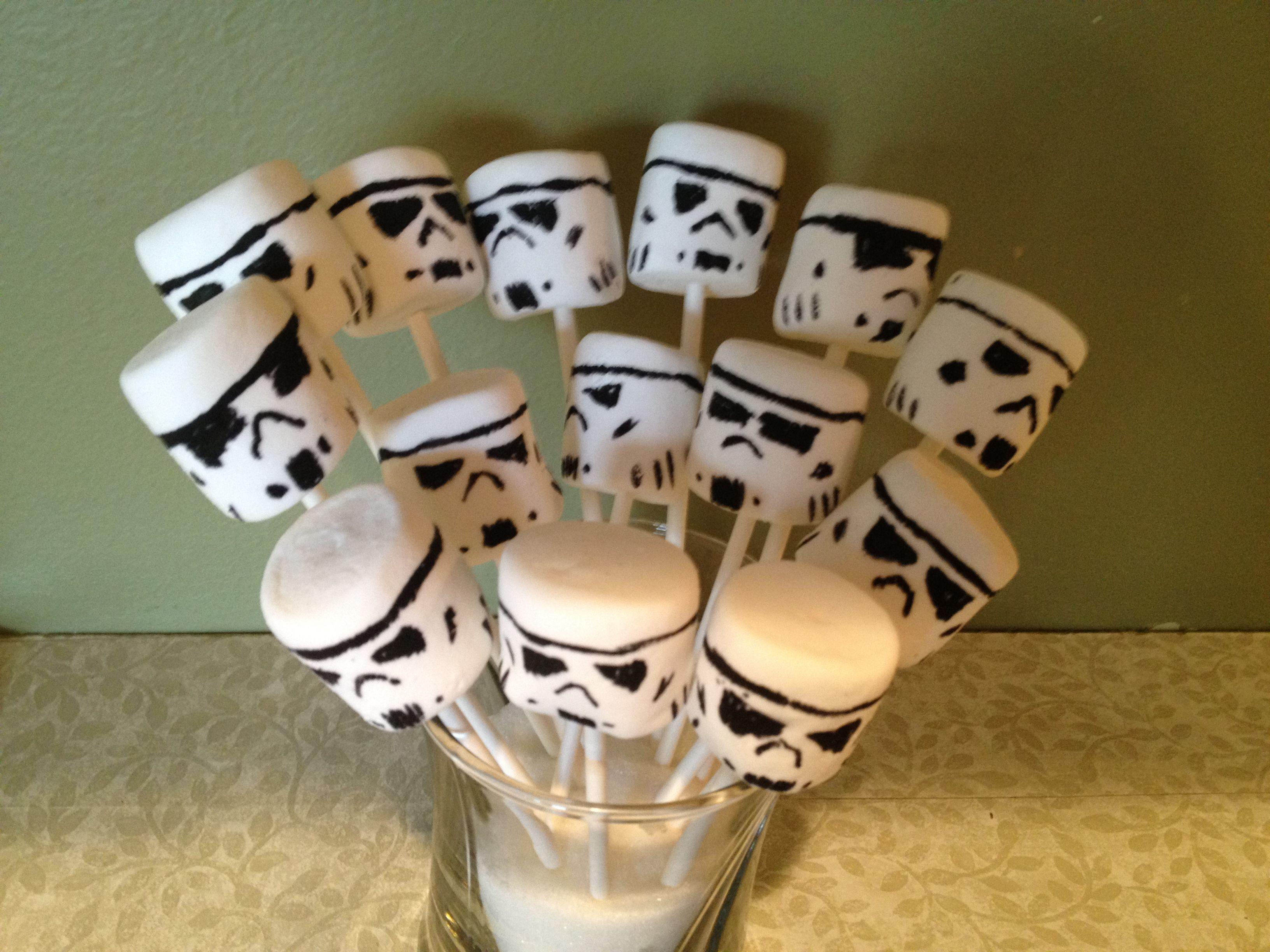 Storm trooper marshmallow pops for Ben's birthday