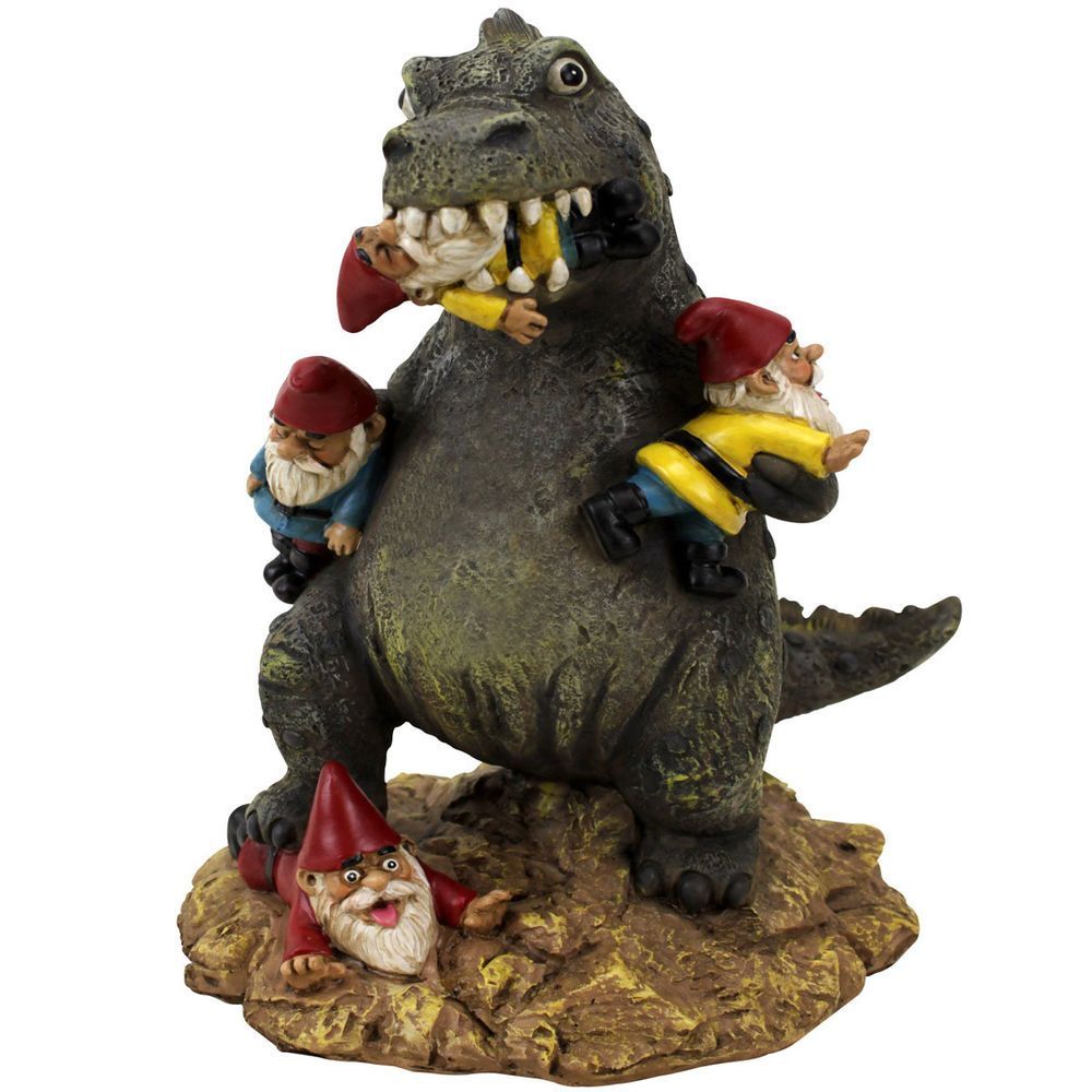 Great Garden Gnome Massacre Godzilla T-Rex Dinosaur Outdoor Statue ...