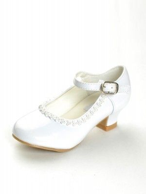 9089fb3986f3 White Rhinestone Detailed Patent Flower Girl Shoes - Girls Shoes - SHOES