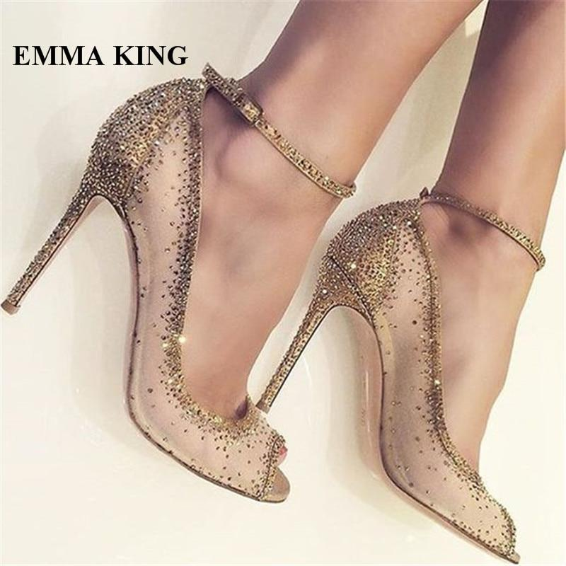 ce8ca8ebc00 Fashion Gold Bling Open Toe Pumps Luxury Rhinestone Studded Pumps ...