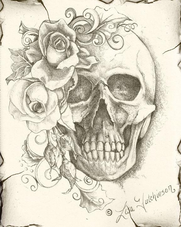 Skull Roses Fine Art Graphite Sketch Tattoo Design