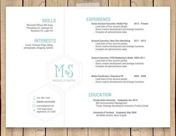 this unique hexagonal resume template is professional  simple and modern  the landscape format