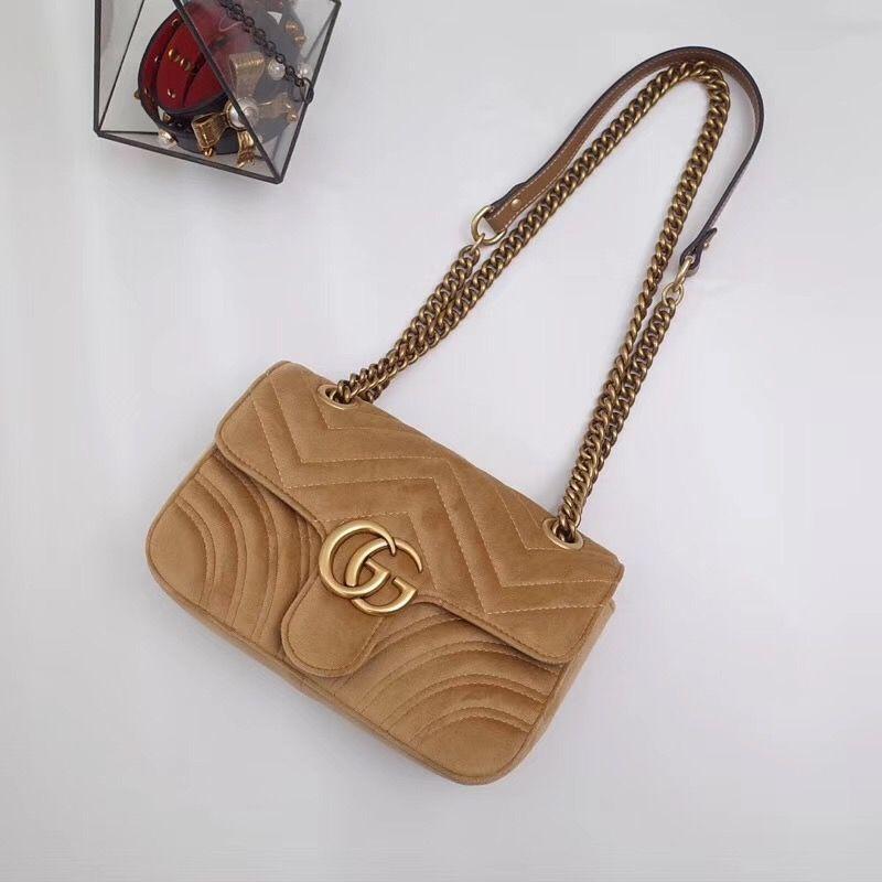 f36bbafe376 Gucci woman marmont chain flap bag velvet shoulder bags beige ...