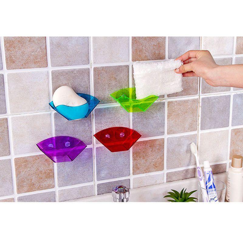 Double Suction Cup Sink Shelf Soap Sponge Drain Rack Bath Kitchen Sucker Storage