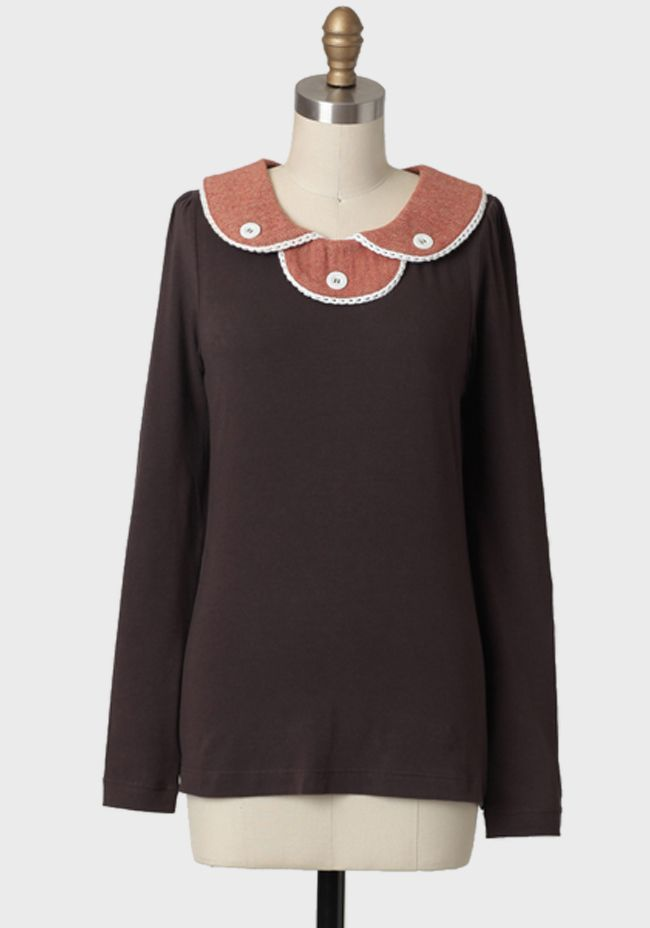 Tweed Spice Collared Top By Knitted Dove 64.99 at shopruche.com. Delight in this splendidly soft, chocolate-hued top rendered in a fine cotton blend.