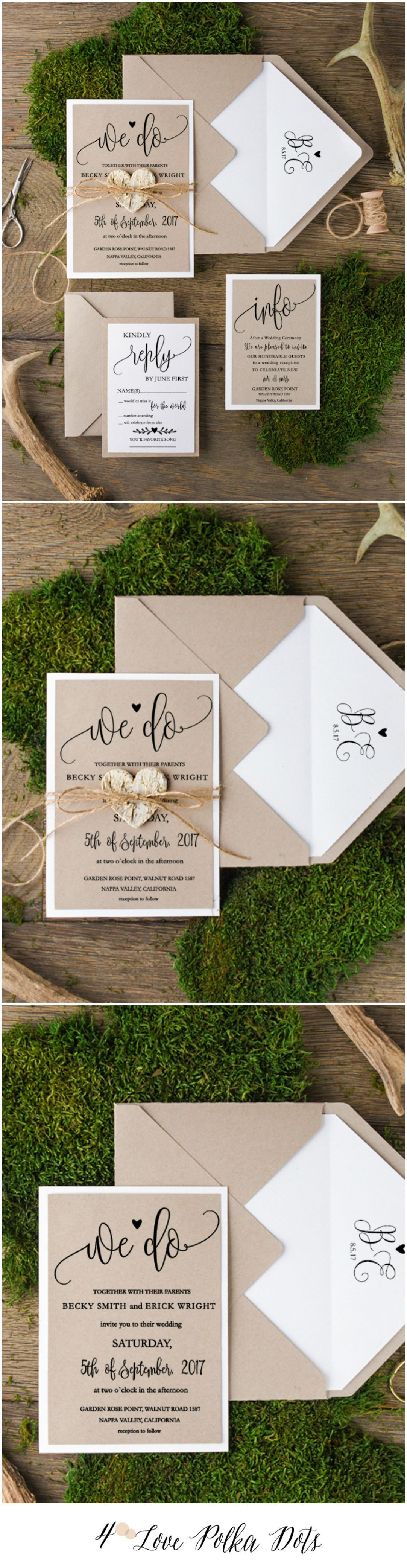 Eco Rustic Wedding Invitations #rusticwedding #countrywedding #dpf ...