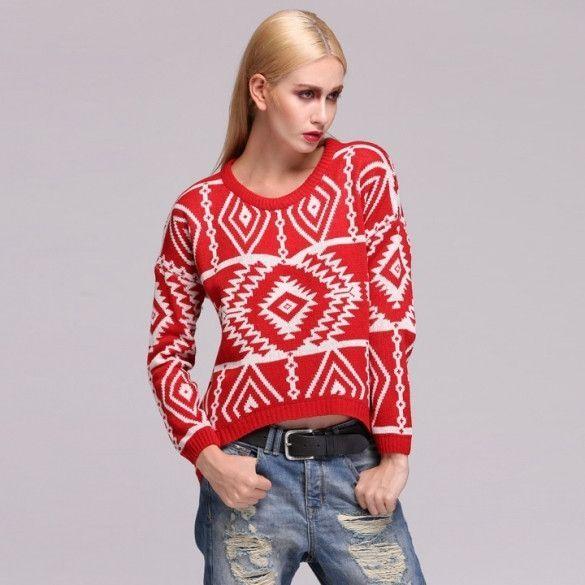 4feea4eb59 New Women Knit Loose Sweater Geometry Design Printed Long Sleeve Pullovers  Big Size