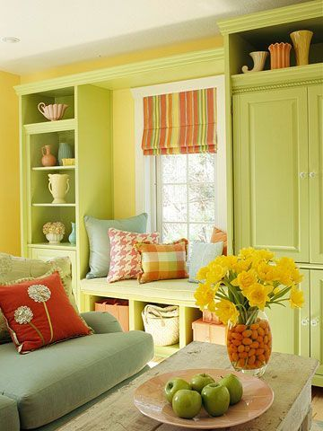 Red Sage Yellow Green Interior Decor Living Room Decorating Ideas For