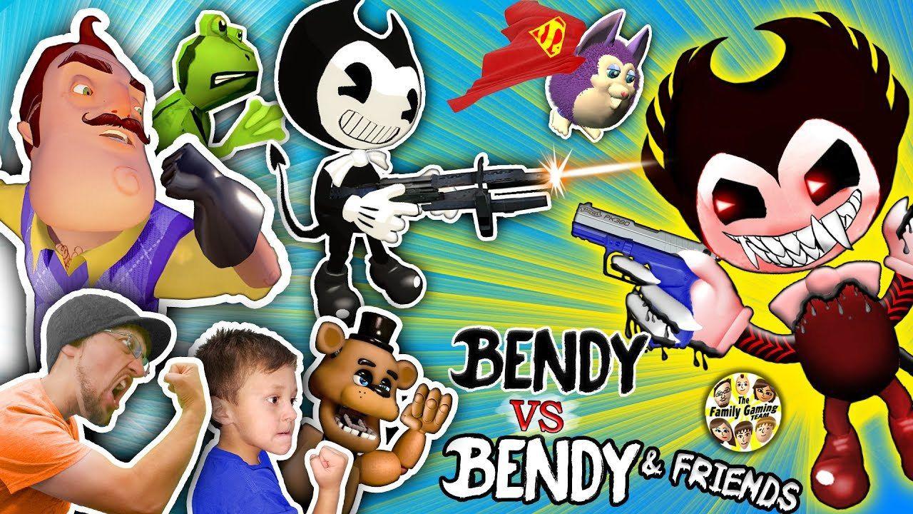 Bendy Amp The Ink Machine Guns Vs Hello Neighbor Fgteev