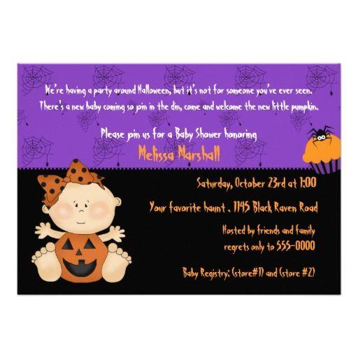 Pumpkin Baby Girl with Cupcake Halloween Shower Custom Invitation
