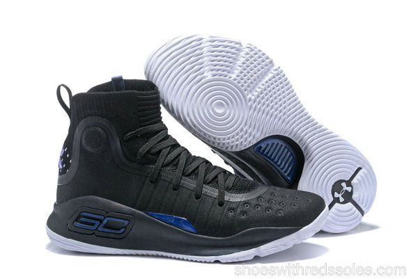 3d7f5263b43 Mens Under Armour Curry 4 Mid Basketball Shoes Black Blue White ...