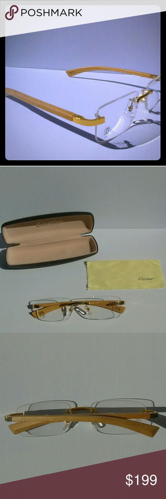 Vintage Cartier Wood/Gold Rimless Glasses FRAME: Classic Wood & Gold ...
