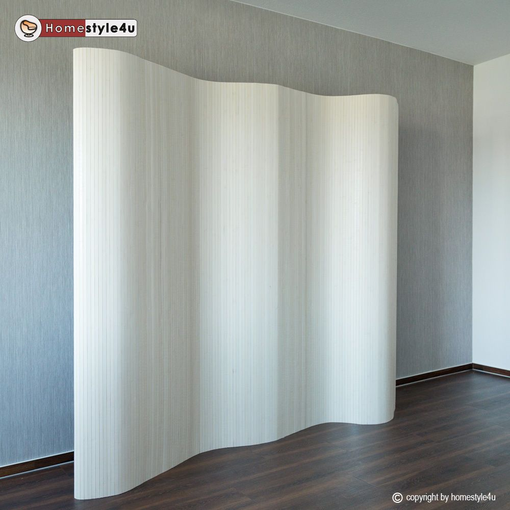 Room divider screen folding screen bamboo paravent panel wall white