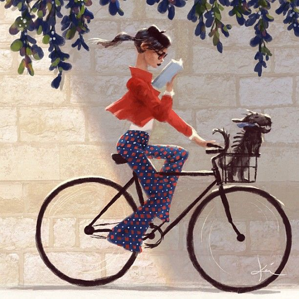 French Woman On Bicycle In Paris By Kei Acedera Woman Reading