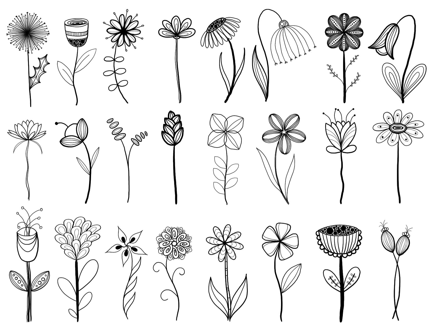 Line Art Flower : My original artwork inspired by many ️ doodle flower