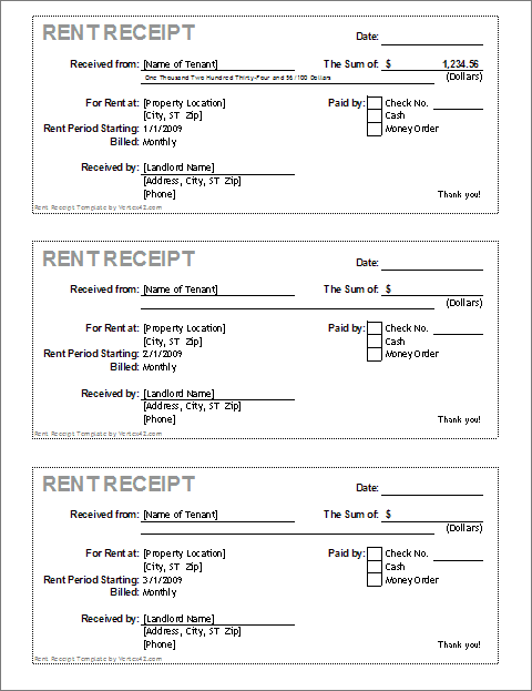 Free Receipt Template Rent Receipt And Cash Receipt Forms  Cash Rent Receipt