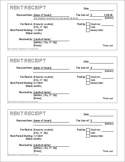Download the Rent Receipt Template from Vertex42 – Free Receipts Online