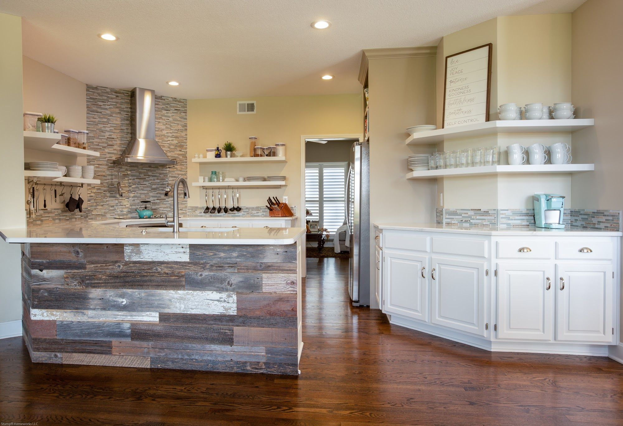 Existing Cabinetry Painted Floating Shelves Custom Built And