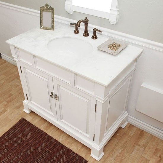 Harlow Single 42 Inch White Traditional Bathroom Vanity With