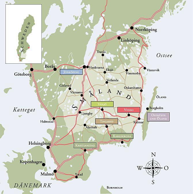 Småland Map Of South Sweden The Småland Region Steder Jeg - Sweden map halmstad