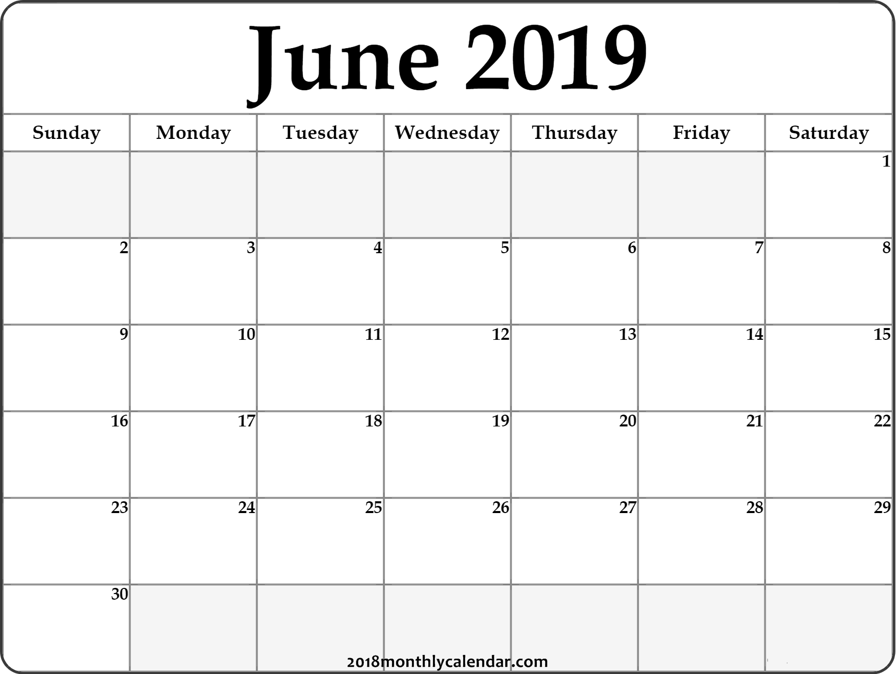 photograph about June Printable Calendar known as June Calendar 2019 #june #2019calendar #june2019