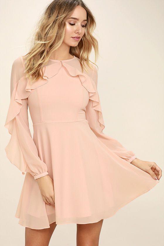 Precioso vestido rosa Blush - vestido de manga larga - Vestido skater - $ 62.00