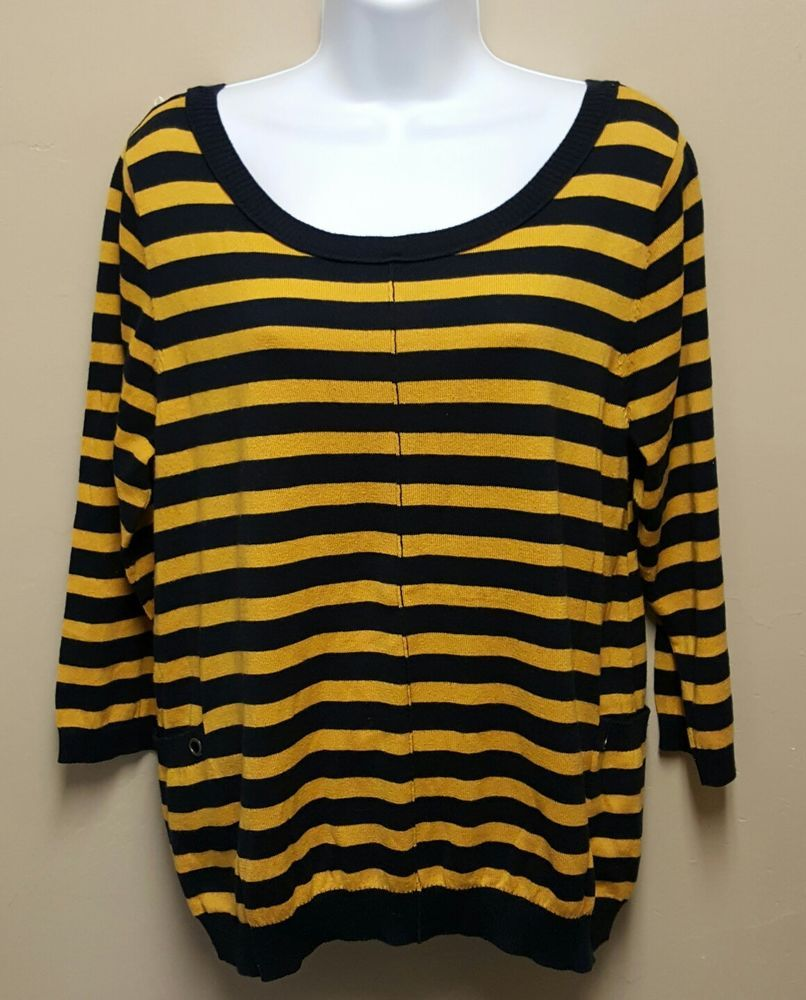 Navy Blue Mustard Yellow Striped Sweater Zip Up Back Thin Knit ...