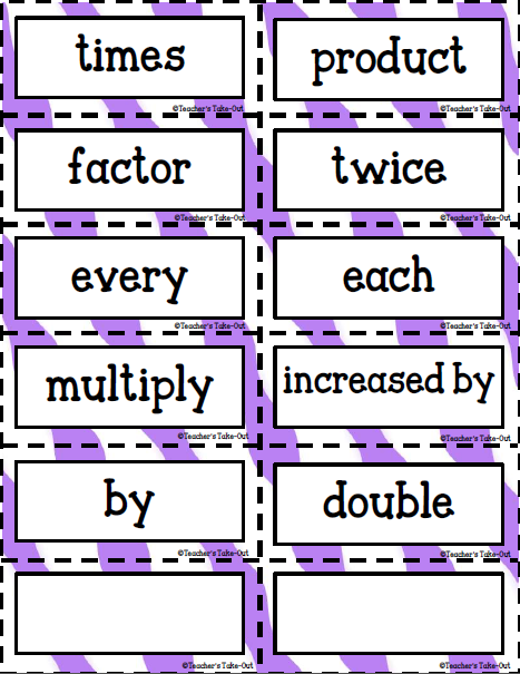 FREE Key Words for Multiplication and Division | Teacher\'s Take-Out ...