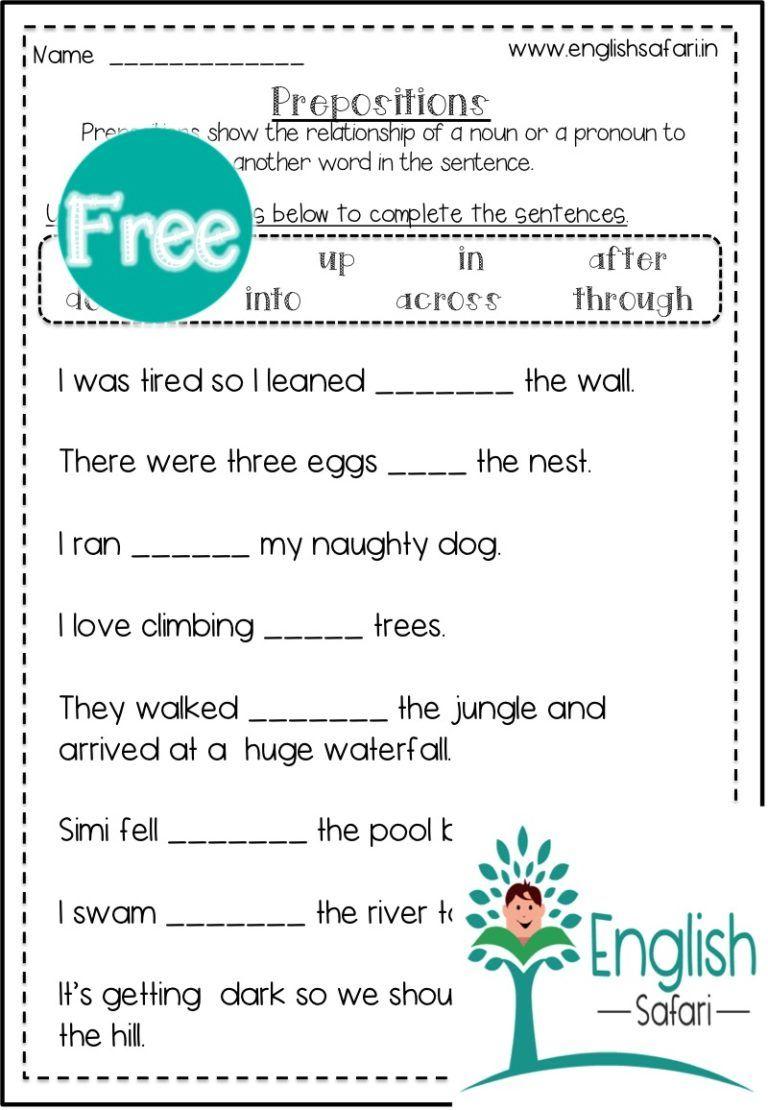 prepositions worksheet FREE www.englishsafari.in in 2020