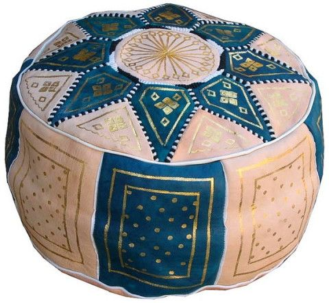 Set of 2 Moroccan leather Pouf Ottoman Poof Pouffe pouffes hassock Footstool light blue