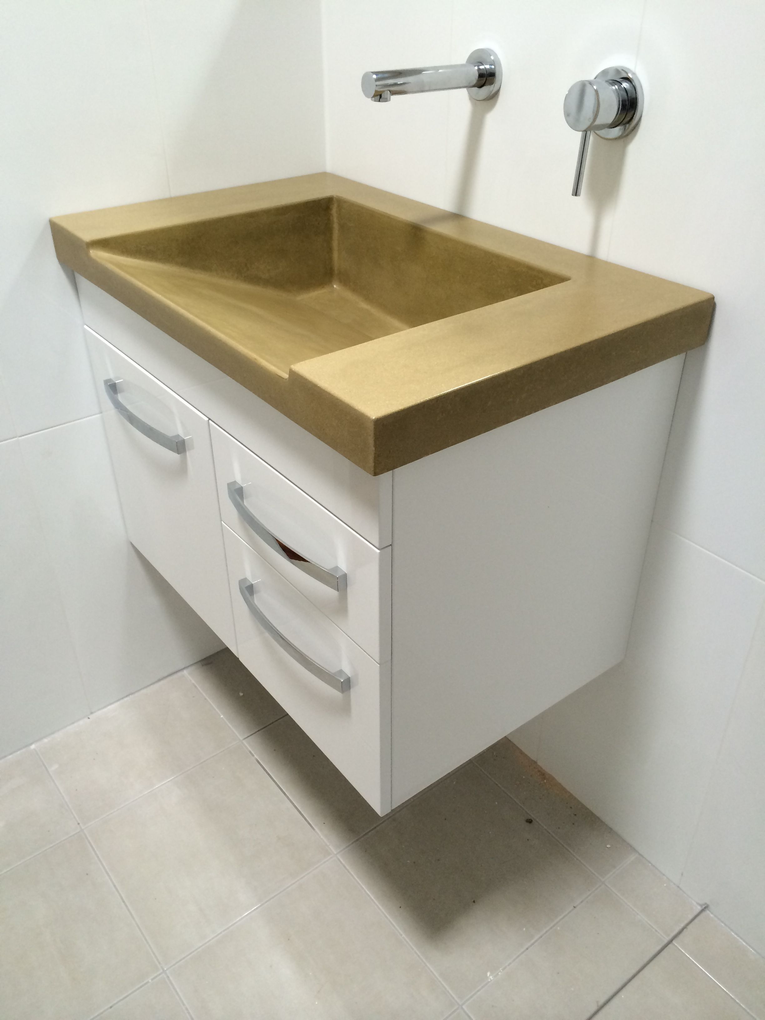 Image On Custom Polished Concrete Vanity top with ramp sink A big statement for an all