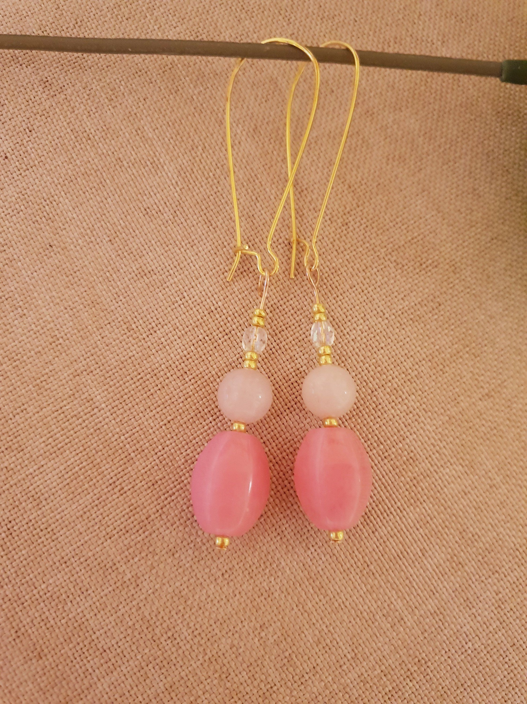 Rose Quartz Dangle Earrings Women Rose Quartz Earrings Gold