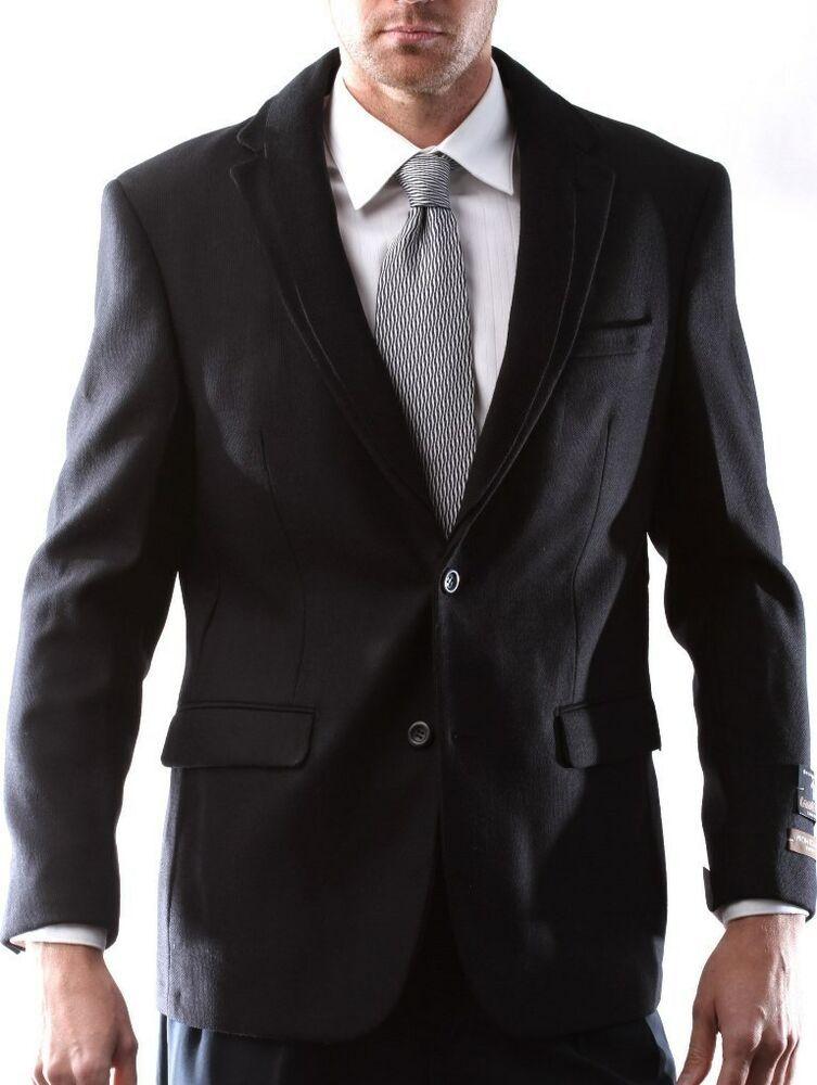 Prontomoda Men's 100 Lamb's Wool Black Sport Coat 40R