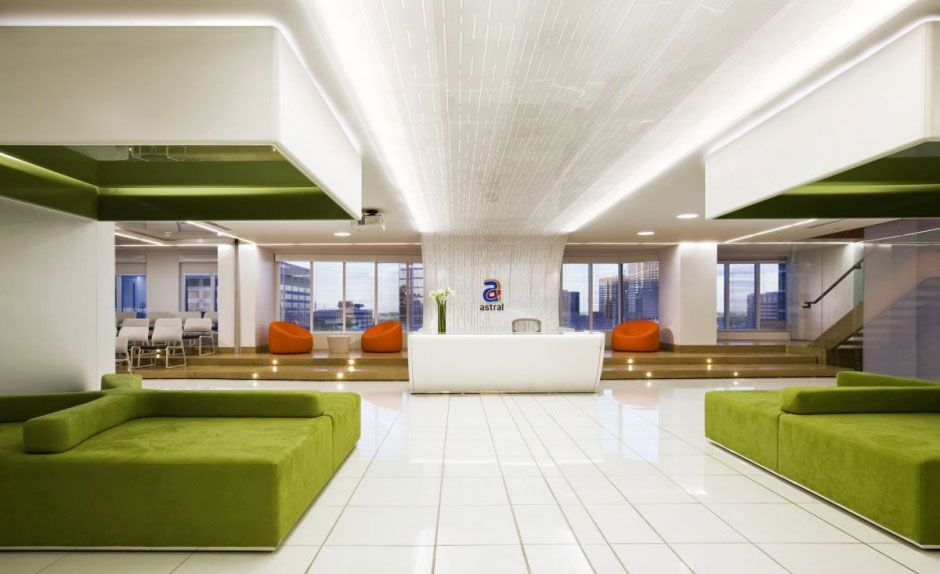 Waiting Room Design Ideas Part - 29: Bright Colored Office Receptionist And Waiting Room With Green Sofas:  Bright Colored Office Receptionist And