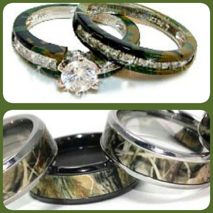 camouflage wedding rings for her - Camo Wedding Ring Set