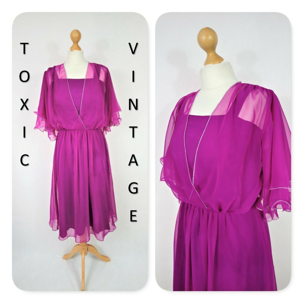 Vintage 70s 80s Fuchsia Pink Silver Floaty Party Dress Uk S Retro Disco Glam Glam Dresses Maxi Dresses Uk Dresses